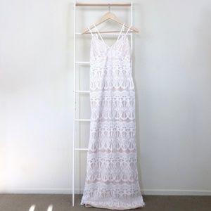 NWT Nasty Gal Lace Strappy Scallop Trim Maxi Dress